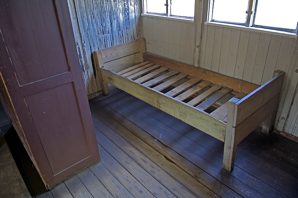 Bed in a barrack in concentration camp sachsenhausen, germany