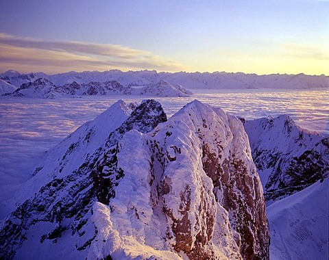 View from Wetsern Karwendelspitze, fog, behind Stubai Alps, Karwendel, Tyrol, Austria