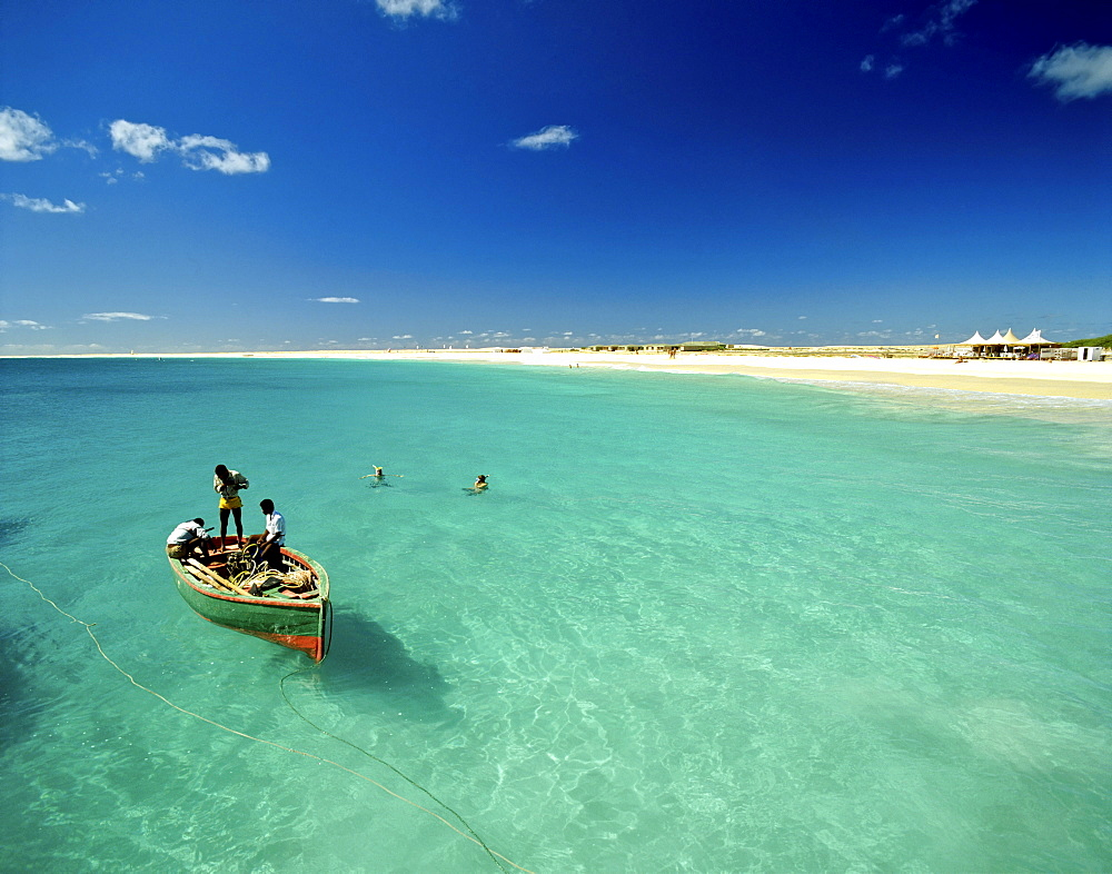 Fishing boat off the coast of Sal Island, Cape Verde, Atlantic Ocean