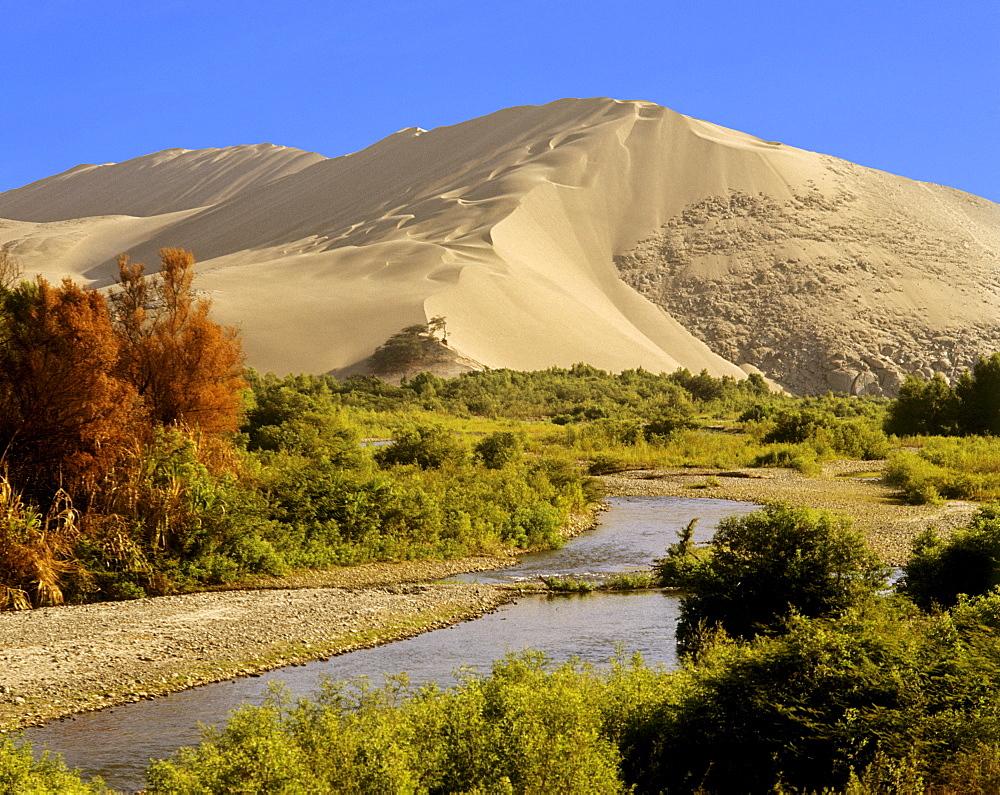 Coastal desert, sand dunes, near Casma, Peru, South America