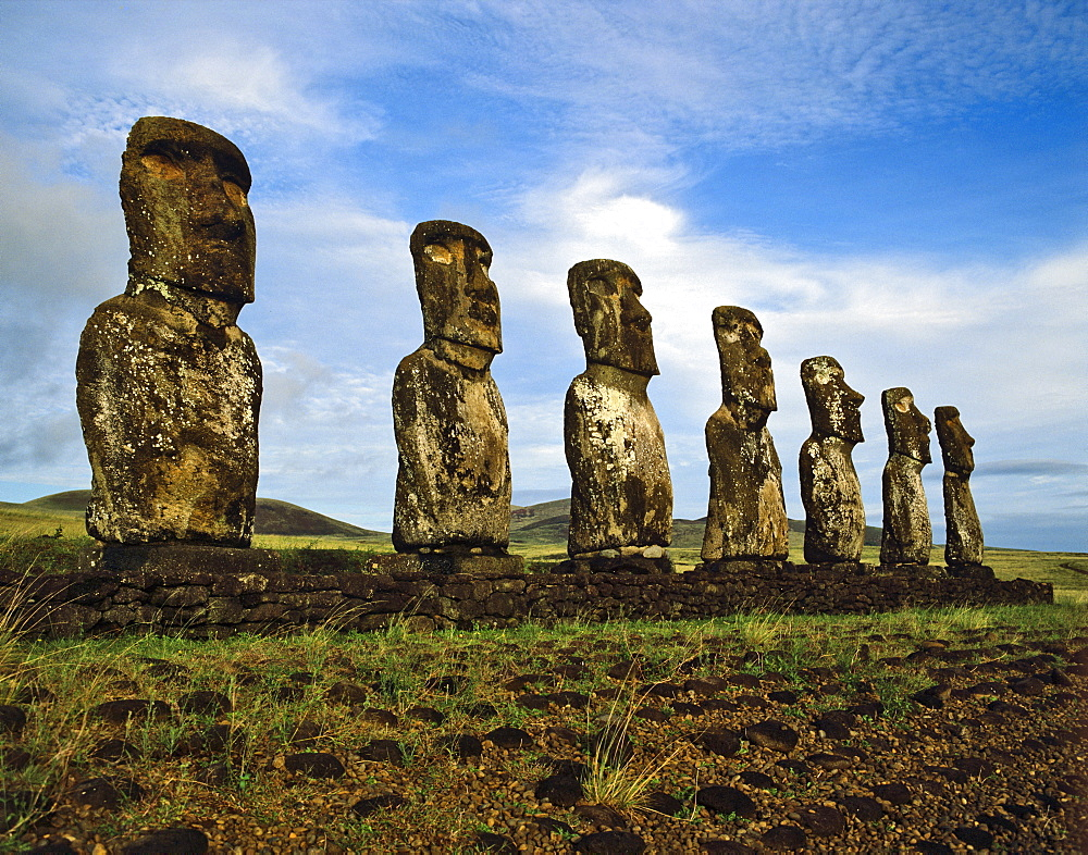 Seven moais of Ahu Akivi, stone sculptures, Rapa Nui National Park, Easter Island, Chile, Oceania