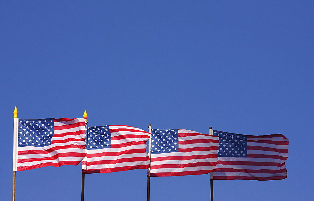 Four US flags, American flags against a blue sky