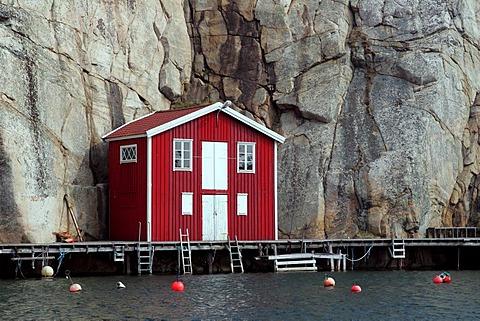 Boathouse in the harbour of Smoegen in Sweden - Smoegenbryggan, Smoegen near by Kungshamn, Bohuslaen, Vaestra Goetalands, Vaestergotland, Skagerrak, Sweden, Skandinavia, Europa