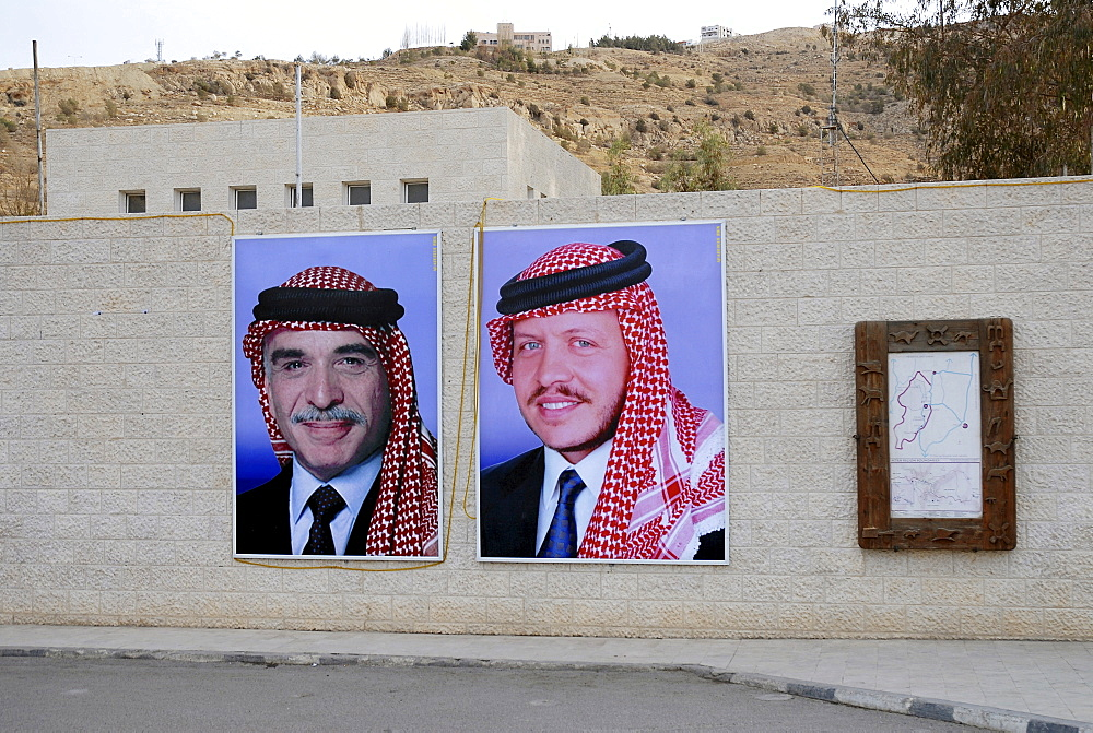Portraits of King Hussein I and his son, King Abdullah II, Wadi Musa, Petra, Jordan, Middle East, Asia