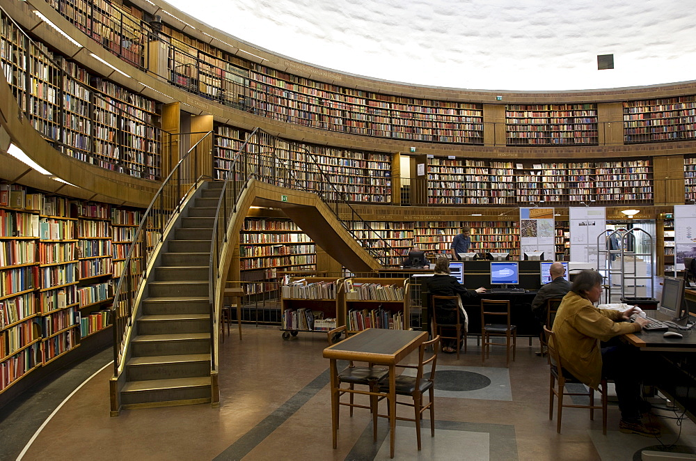 Interior of the City Library, Stockholm, Sweden, Scandinavia, Europe