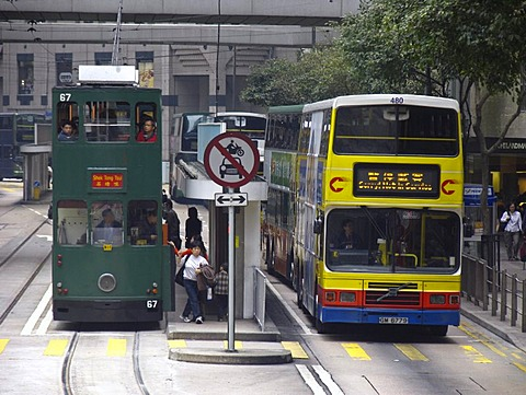 Double decker bus, Central District, Hongkong, China, Asia