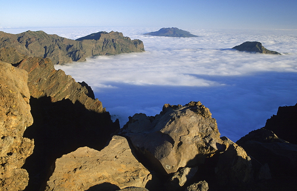 Clouds in the Caldera (crater) de Taburiente, La Palma, Canary Islands, Spain