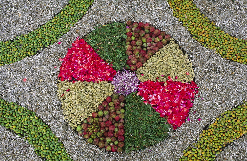 Detail of a carpet of flowers for Corpus Christi, Mazo, La Palma, Canary Islands, Spain
