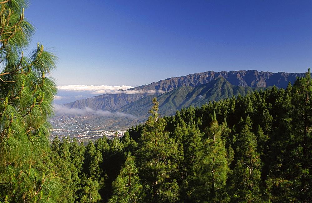 View from the ruta de los volcanes on Los Llanos and the edge of the Caldera (crater) de Taburiente, La Palma, Canary Islands, Spain