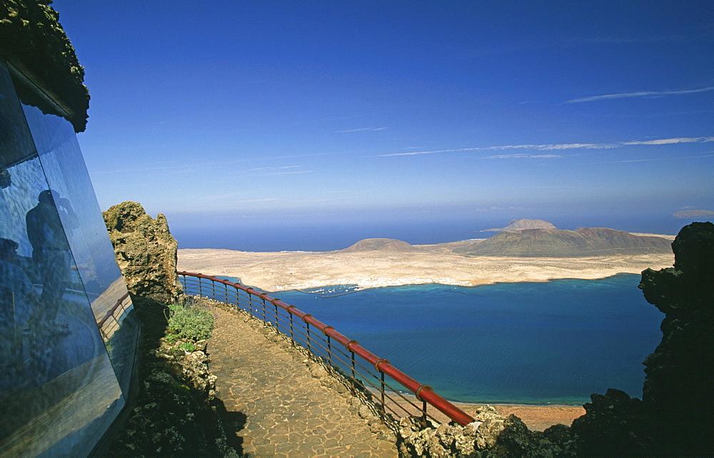 View from the mirador del Rio to the island La Graciosa, Lanzarote, Canary Islands, Spain