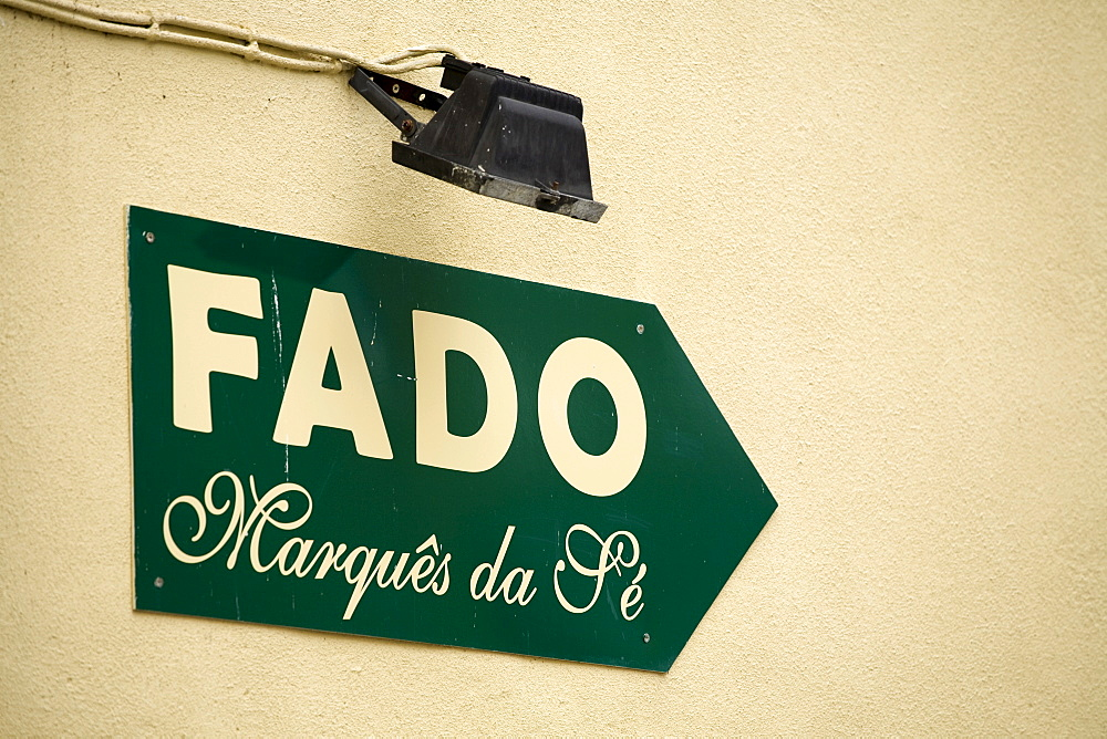Sign to a Fado or Fate pub, Alfama, Lisbon, Portugal, Europe