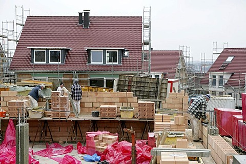 Construction site of private houses, Essen, North Rhine-Westphalia, Germany