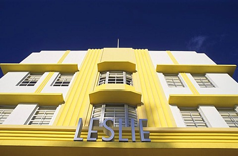 """Art Deco District, Hotel of the hotel group """"Leslie Hotel"""", Ocean Drive, Miami Beach, Florida, USA"""