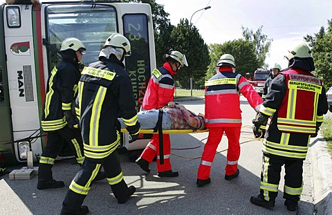 Catastrophe exercise of the Augsburg fire department in cooperation with the Bavarian Red Cross and the DLRG, Ausgburg, Bavaria, Germany