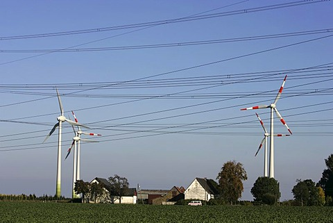 Wind turbines, wind power stations near Soest, North Rhine-Westphalia, Germany