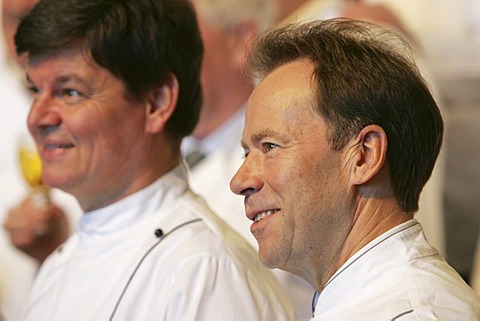 Harald Wohlfahrt and Dieter Mueller, from left, Award-giving ceremony of the Gastronomy Culture Award