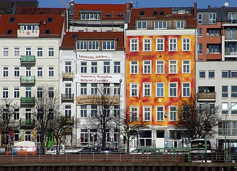 Buildings on the Hafenstrasse with paroles on the facades, Hamburg, Germany