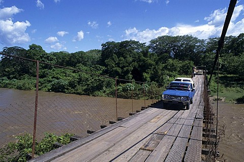 Suspension bridge above the Rio Chamelecon, Copan province, Honduras