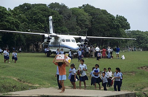Transport plane on the runway of Palacios, Moskitia, eastern Caribbean coast, Honduras