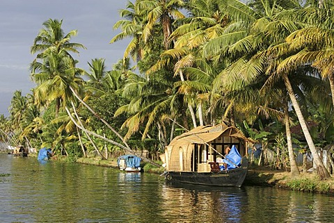 Typical rice boats on the Backwaters, a canal system along the coastline, Kerala, India