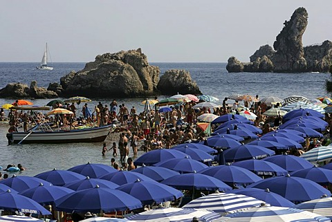 ITA, Italy, Sicily : The town of Taormina, in the northeast of the island. Beach at the Islola Bella |