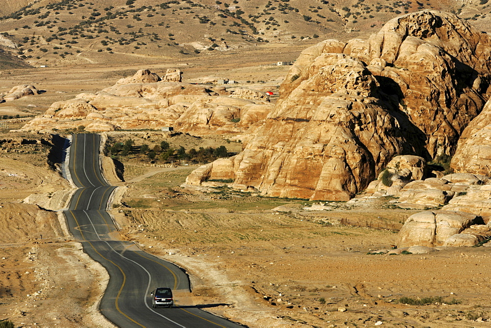 Country road from the Desert Highway to the city of Wadi Musa, Petra, Jordan