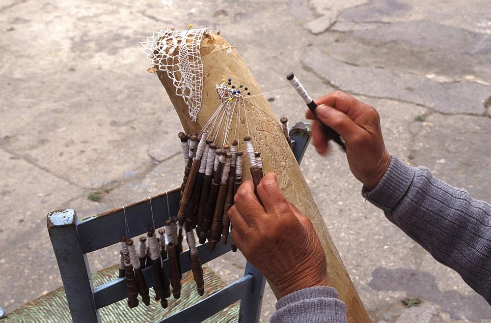 Traditional making of lace in Victoria, Gozo island, Malta