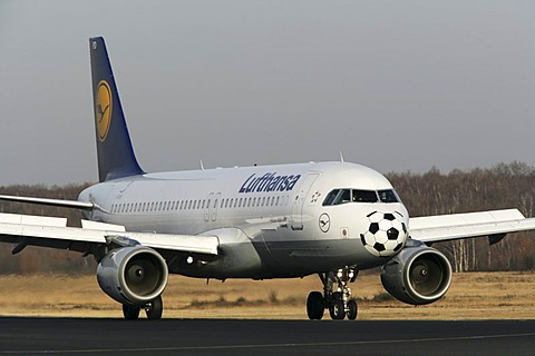 Lufthansa Airbus A320-200, with special painting for the Football WC, Koeln-Bonn airport, Cologne, North Rhine-Westphalia, Germany