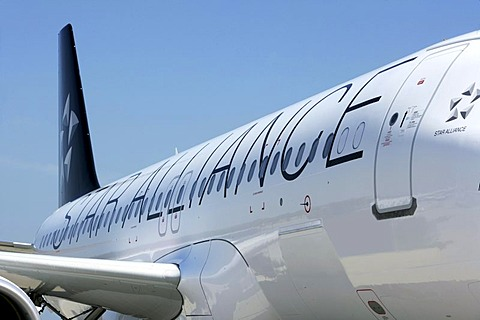 TAP Portugal Airline, Airbus A 320, with Star Alliance design, airport Muenster Osnabrueck, North Rhine-Westphalia, Germany