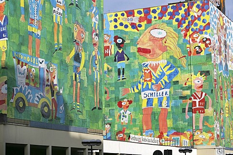 Big art printings at the facades of the Romanushaus , made by the artist Michael Fischer-Art, Leipzig, Saxony, Germany