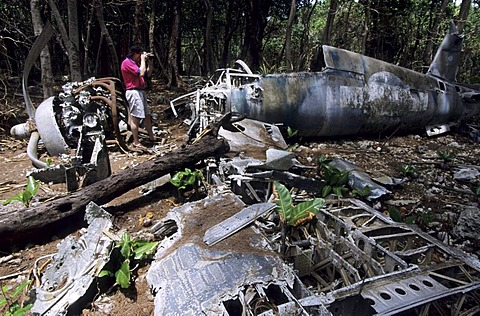 The wreck of a shot down military plane of World War 2, Palau, Micronesia