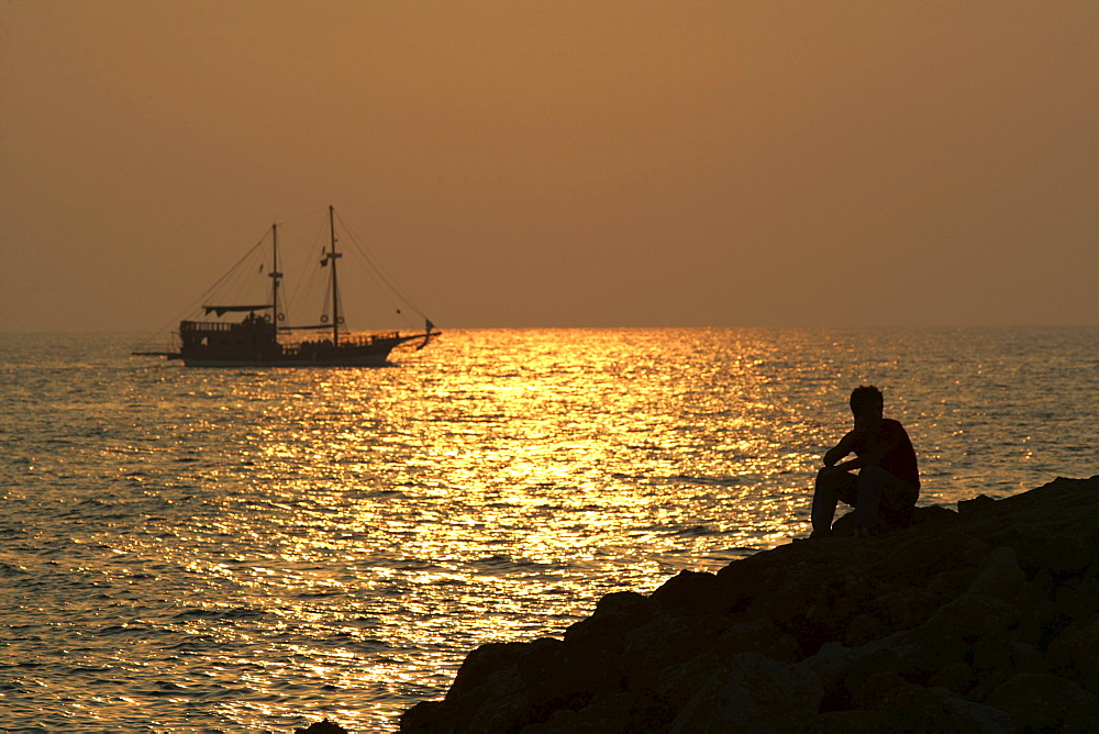 TUR Turkey Side Turkish riviera coast. Sunset turkish Gulet traditional sailingboat - 832-314443