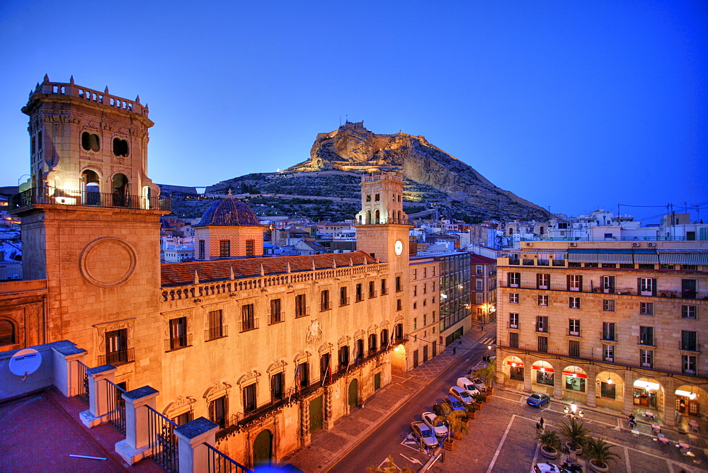 Spain, Alicante : Old town, City Hall, Anyuntamiento and Monte Benacantil hill