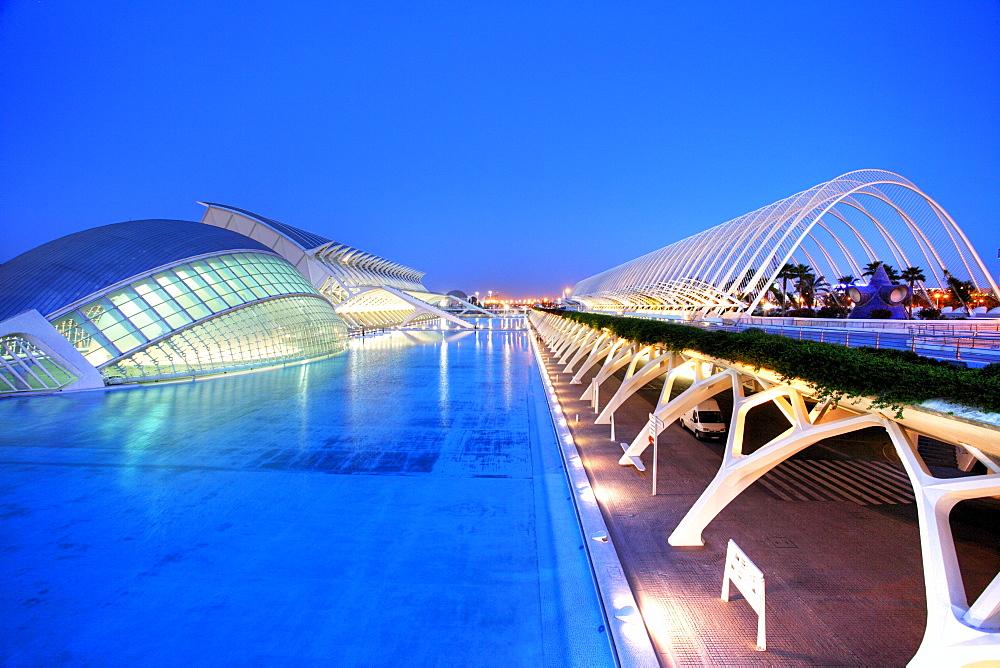 ESP, Spain, Valencia : Ciudad de las Artes Y de las Ciencias, City of arts and sciences. L'Hemisferic, Museo de las Ciencias Principe Filipe, L'Umbracle