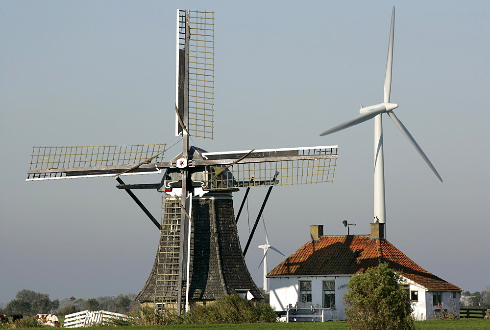 Baburenmolen historic windmill with modern wind turbines in background, Bolsward, Friesland, The Netherlands, Europe