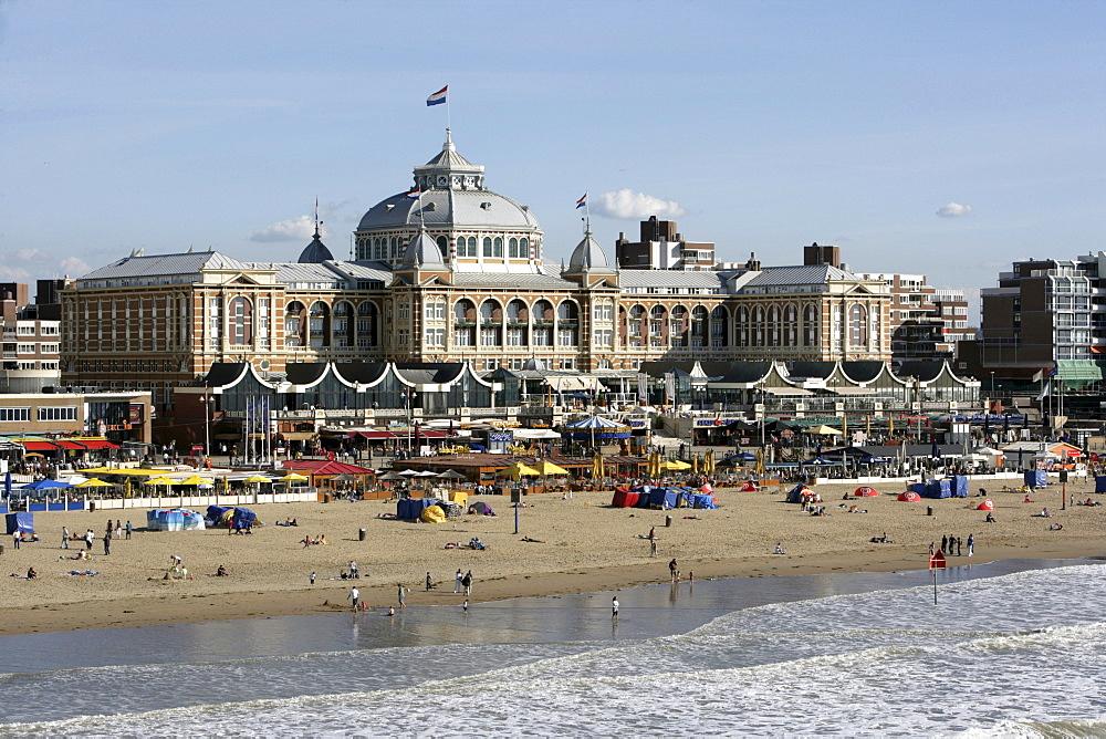 Beach promenade and the Kurhaus Hotel, Scheveningen, The Hague, The Netherlands, Europe