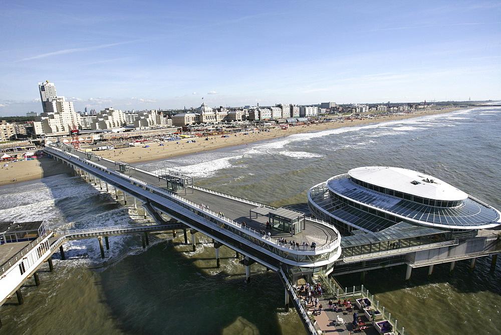 Beach promenade with the Kurhaus Hotel, pier and casino, Scheveningen, The Hague, The Netherlands, Europe