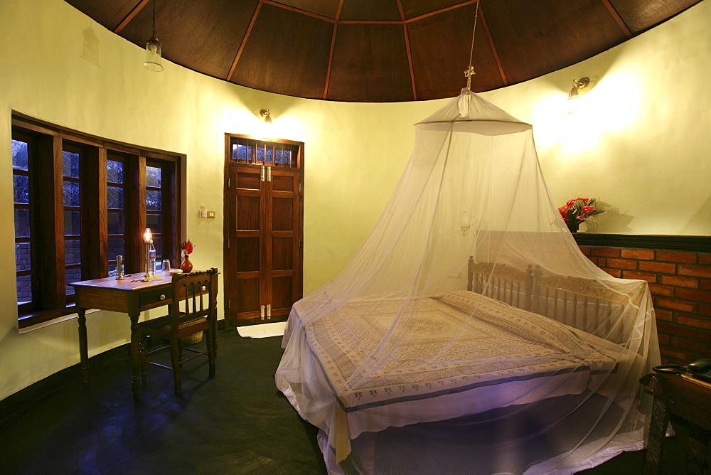 Hotel room, Somatheeram Ayurveda Resort, traditional Ayurvedic medicine spa resort, Trivandrum, Kerala, India, Asia