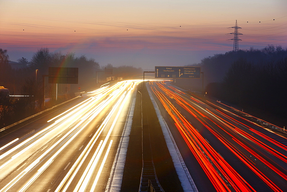 Autobahn (Motorway) A2 at dusk, Bottrop, North Rhine-Westphalia, Germany, Europe