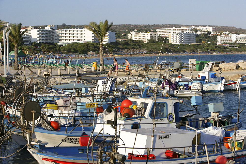 Fishing port, tourist hotels, beach at Ayia Napa, Cyprus, Europe