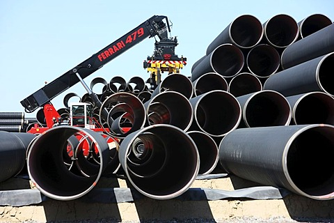 Delivery of steel pipes at the temporary storage facility for the Baltic Sea pipeline, which will transport gas from the Russian town of Wyborg to Greifswald, beginning in 2012, Sassnitz, Ruegen Island, Mecklenburg-Western Pomerania, Germany, Europe - 832-315930