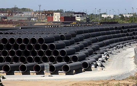 Steel pipes at the temporary storage facility for the Baltic Sea pipeline, which will transport gas from the Russian town Wyborg to Greifswald, beginning in 2012, Sassnitz, Ruegen Island, Mecklenburg-Western Pomerania, Germany, Europe