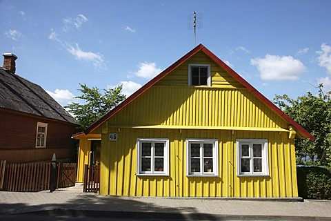 Yellow house in Trakai, Lithuania, Baltic States, Northeastern Europe