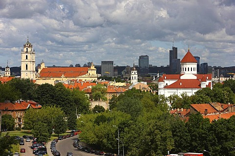 City panorama over the historic city centre of Vilnius, on the rightside, St. Michael's Church in front of the skyscrapers around the Europos Centre, Vilnius, Lithuania, Baltic States, Northeastern Europe