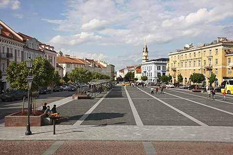 View from the City Hall over City Hall Square in the historic city centre of Vilnius, Lithuania, Baltic States, Northeastern Europe