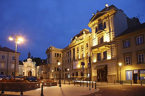 Illuminated building of the National Philharmonic Concert Hall in the historic city centre of Vilnius, Lithuania, Baltic States, Northeastern Europe