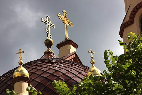 Crosses on dome, St. Nicholas Orthodox Church, Vilnius, Lithuania, Baltic States, Northeastern Europe