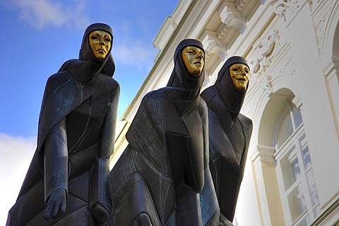 "Sculpture, the ""Feast of the 3 Muses"" at the National Drama Theatre at Gedimino Boulevard, Vilnius, capital of Lithuania, Baltic States, North East Europe"