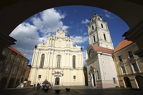 St. Johns Church on the large square of the University in the historic centre of Vilnius, capital of Lithuania, Baltic States, North East Europe