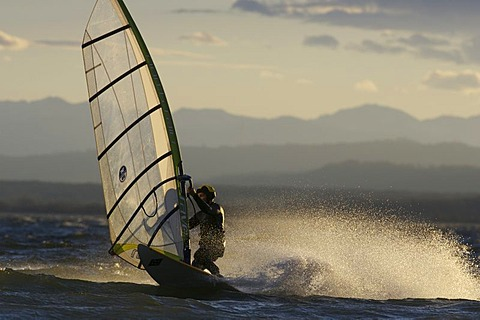 Windsurfer at a jibe on the Ammersee in evening light, Bavaria, Germany
